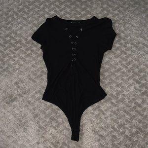 Iris Black Bodysuit Thong with Lace up design